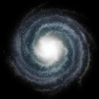 Blue spiral galaxy against black space and stars in deep outer s