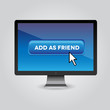 Blue Add as friend button with mouse cursor on pc screen
