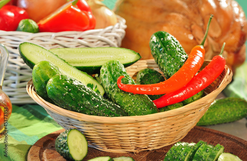 cucumbers and red peppers