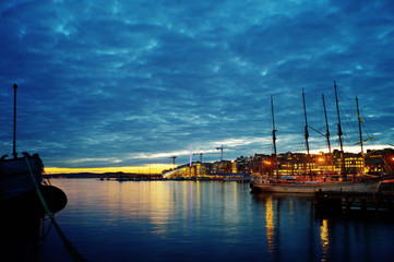 Oslo harbour in twilight