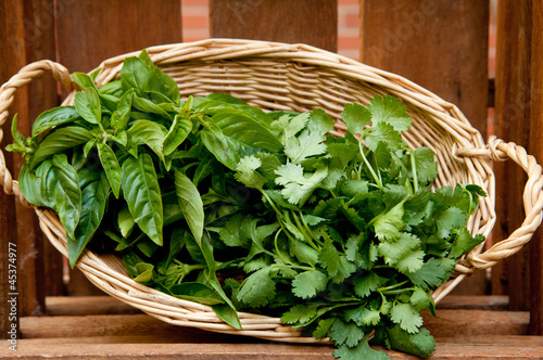 Basket of hand picked herbs from the garden