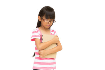 Sad little girl, Unhappy because fail an exam, Isolated on white