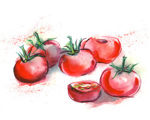 Watercolor Tomatos