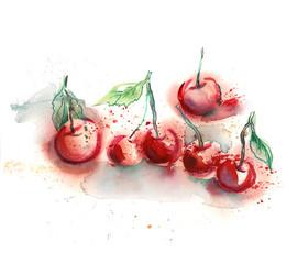 Watercolor Cherries