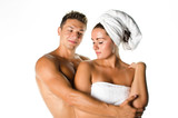Young couple after shower