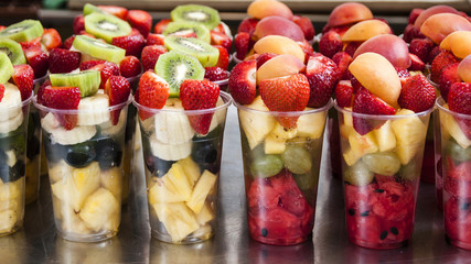 Glasses of fruits