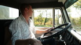 Driver at the wheel of  delivery truck