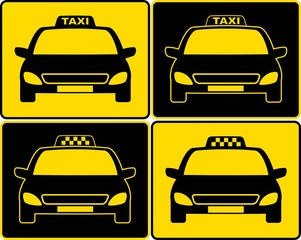set of taxi cars sign