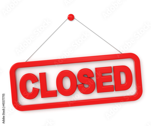 3d shopping sign board - closed