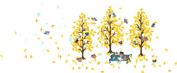 イチョウの葉が舞う森の中のベンチで小動物達と一緒に読書を勤しむ男性。