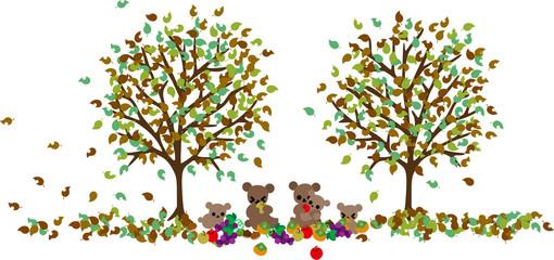 冬眠に備えて、森の中で秋の果物をたくさんほおばるクマの親子。