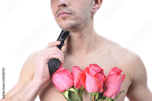Sexy man ready to shoot yourself in the neck for love.