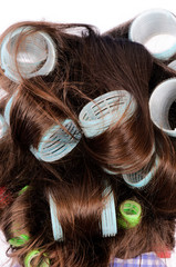 Curlers in the hair
