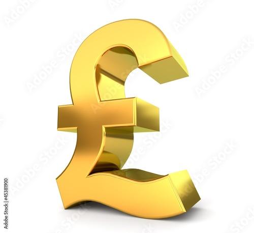 Leinwandbild Motiv 3d golden sign collection - pound