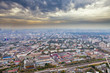 panorama with dark yellow clouds under autumn Moscow