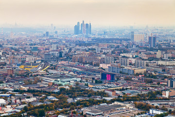Moscow City and cityscape in smog autumn day