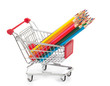 color pencils in shopping cart