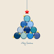 Abstract Christmas Tree Balls Pattern Blue/Beige Gold