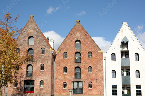 Historic warehouses in the city Groningen.Netherlands