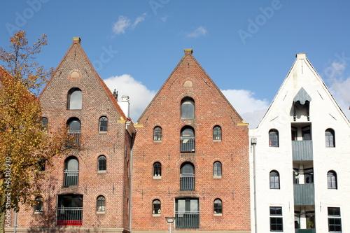 Historic warehouses in the city Groningen.Netherlands