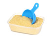 Measuring spoon and plastic container with grain isolated
