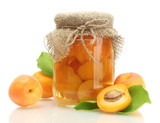 Fototapety canned apricots in a jar and sweet apricots isolated on white