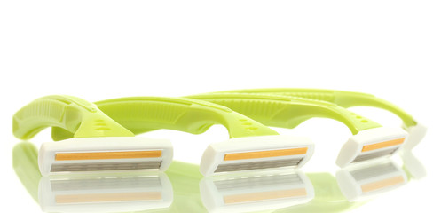 woman safety shavers isolated on white.