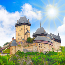 The Karlstejn cas. Royal palace in Czech Republic, Europe.