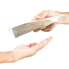 Hand handing over money to another hand isolated on white backgr