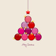 Abstract Christmas Tree Balls Pattern Red/Beige Gold