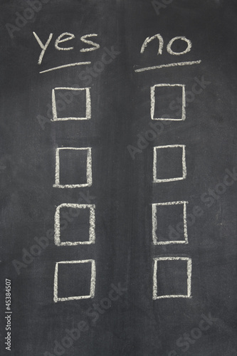 blackboard with yes no tick boxes