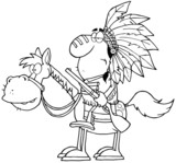 Indian Chief With Gun On Horse Over Rocks In Gray Color