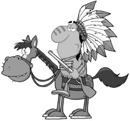 Indian Chief With Gun On Horse In Gray Color