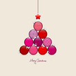 Abstract Christmas Tree Balls Pattern Red/Beige Silver