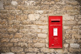 traditional old english red postbox poster