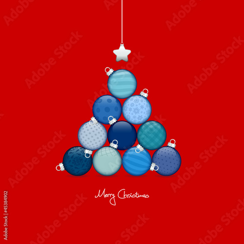 Abstract Christmas Tree Balls Pattern Blue/Red Silver