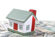 toy house for dollar banknotes as a background