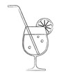 Cocktail glass with lemon and drinking straw