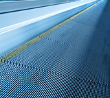 abstract striped texture of moving escalator closeup poster