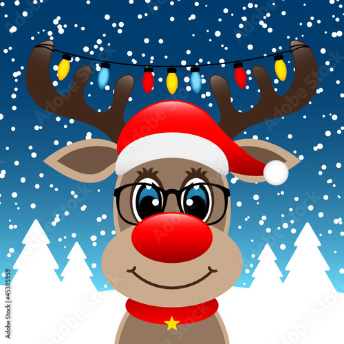 Rudolph Glasses Chain Of Lights Winter Forest Blue