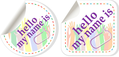 Hello my name is color signs sticker set