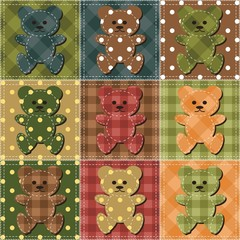 patchwork background with teddy bears
