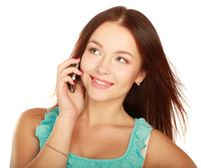 Portrait of beautiful young female using cellphone