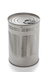 Single closed tin can isolated on white