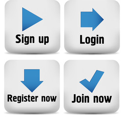 Login and register icons