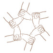 Vector sketch hands took in the circle