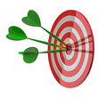 Darts target aim with three arrows in the center 3d