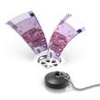 3d Wasting Euro bills down the drain