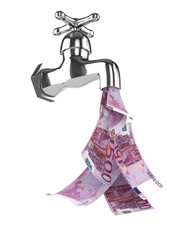 3d Tap pouring euro notes down the drain
