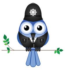 Comical bird policeman sat on a branch